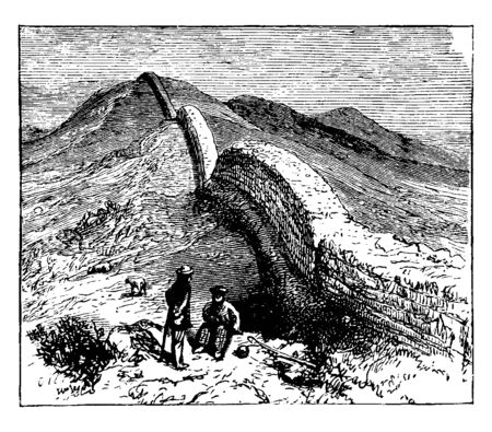 Hadrian Wall is a stone and turf fortification built by the Roman Empire across the width of what is now northern England, vintage line drawing or engraving illustration. Illusztráció