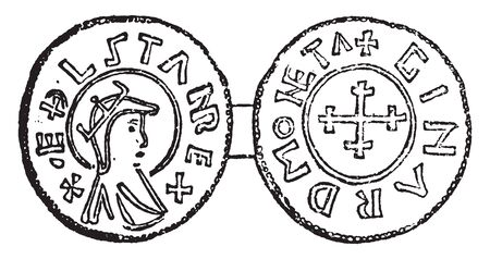 Coin of Aethelstan which must have been in existence for a very long period, vintage line drawing or engraving illustration.