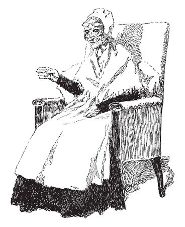 A grandmother with eyeglasses on forehead sitting in chair, vintage line drawing or engraving illustration
