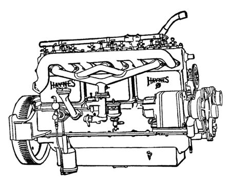 Building an Automobile Step 09 is Electric Generator used for starting the engine and lighting the car, vintage line drawing or engraving illustration. 向量圖像