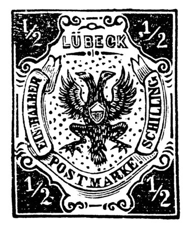 This illustration represents Lubeck in one and half Schilling Stamp in 1859, vintage line drawing or engraving illustration.