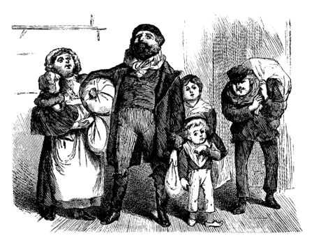 A family carrying bundles, vintage line drawing or engraving illustration 向量圖像
