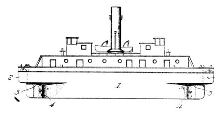 Small Tugboat is a powerful small boat designed to pull or push larger ships, vintage line drawing or engraving illustration.