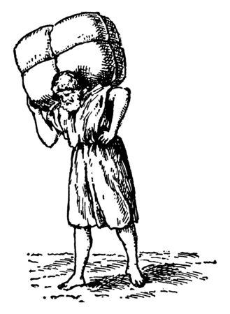 A man carrying a large bundle upon his shoulders, vintage line drawing or engraving illustration