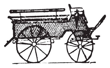 Wagonette is a four wheeled vehicle designed to carry 4 or 6 persons, vintage line drawing or engraving illustration.