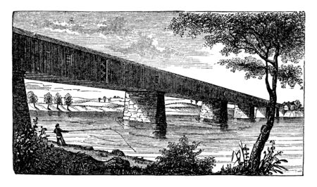 Great Bridge at McConkey Ferry which was the name for Allston Brighton before it separated from Cambridge in 1807, vintage line drawing or engraving illustration. Illusztráció