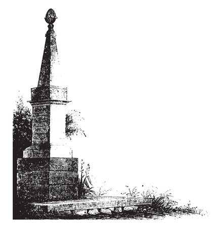 Monument at Goshen,vintage line drawing or engraving illustration.