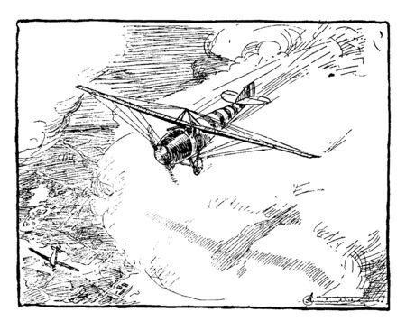 Airplane Flying Above Land illustrating the use of ailerons to adjust the angle of incidence to adjust the lift, vintage line drawing or engraving illustration.