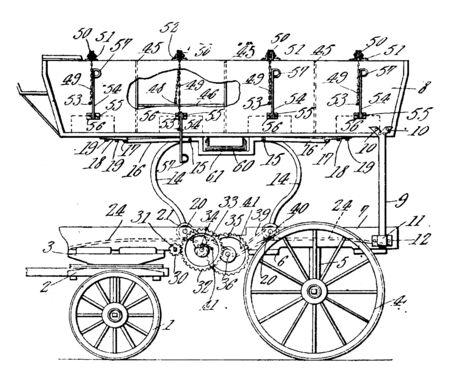 Coal Wagon is composed of two varying wheel size sets for easier access to the loading and dumping of coal, vintage line drawing or engraving illustration.