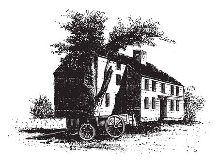 House of Colonel William Barrett, an English surgeon and antiquary,vintage line drawing or engraving illustration Vektoros illusztráció