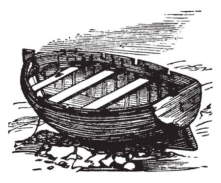 Yawl which is a two mast sailing craft, vintage line drawing or engraving illustration.