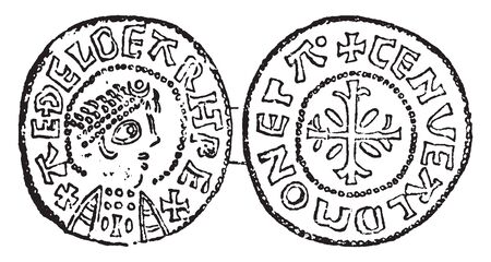 Coin of Ethelbert was an eighth century saint and a king of East Anglia, vintage line drawing or engraving illustration.