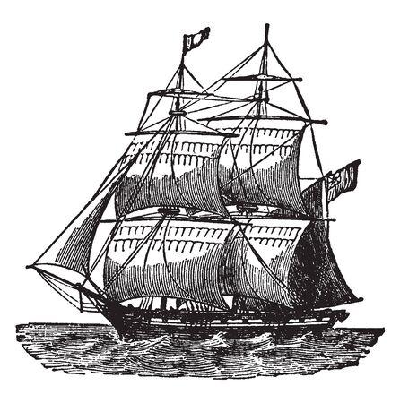 Brig est un voilier avec deux mâts gréés carrés, un dessin de ligne vintage ou une illustration de gravure.