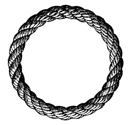 Grommet is a ring of rope used for various purposes made from a strand laid three times round its own central part formed into a loop of the desired size, vintage line drawing or engraving illustration.