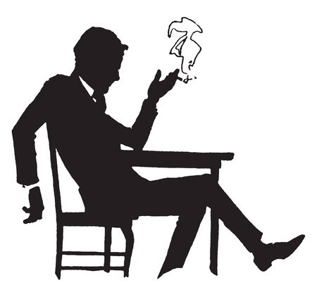 A man slouching in chair and smoking, vintage line drawing or engraving illustration
