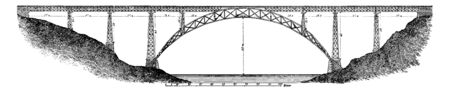 Maria Pia Bridge is a railway bridge built in 1877 by Gustave Eiffel in Porto, vintage line drawing or engraving illustration. 矢量图像