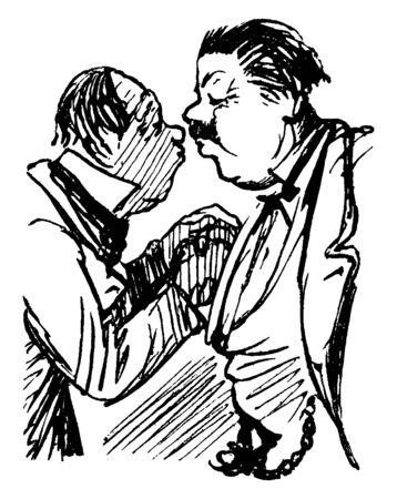 Two men shaking hands, vintage line drawing or engraving illustration 版權商用圖片 - 132902188