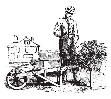 A barrow outfit used to spray insecticide, vintage line drawing or engraving illustration