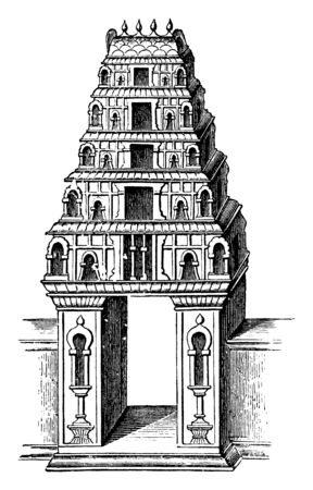 Entrance to a Pagoda which are called pagodas, from the word bhagarati, vintage line drawing or engraving illustration.