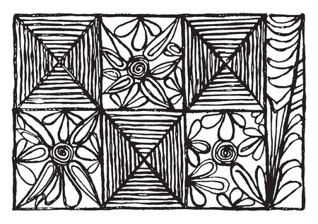 Samoan Grass Cloth which is detail of Samoan glass cloth with string decoration, vintage line drawing or engraving illustration.