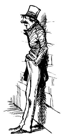 A man leaning against a wall with his hands in his pocket, vintage line drawing or engraving illustration Illusztráció