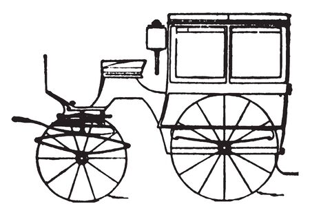 Omnibus or gurney which is modern fashionable carriages and vehicles in general use, vintage line drawing or engraving illustration.
