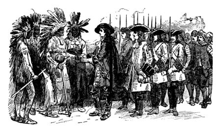 Landing of James Edward Oglethorpe who was a British soldier In Georgia, Member of Parliament,vintage line drawing or engraving illustration.