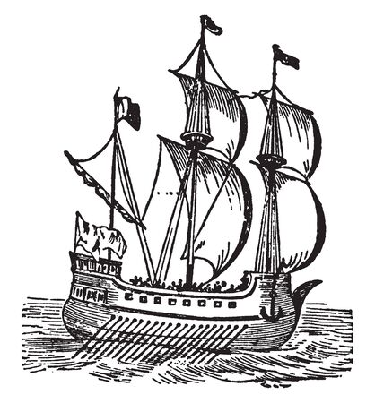 Galley is a low flat built vessel furnished with one deck, vintage line drawing or engraving illustration.