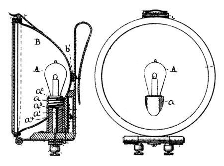 Bicycle Riding Lantern used for signaling or as general light sources for camping, vintage line drawing or engraving illustration.