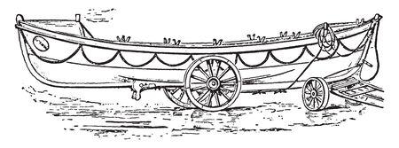 Rettungsboot ist ein speziell konstruiertes Boot, das von Land aus gestartet wird, um Menschen in Seenot zu retten, Vintage-Linienzeichnung oder Gravurillustration.