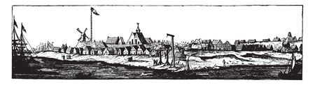 New Amsterdam is a 17th-century Dutch settlement established at the southern tip of Manhattan Island,vintage line drawing or engraving illustration