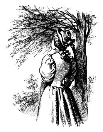 A woman gazing, vintage line drawing or engraving illustration Ilustração