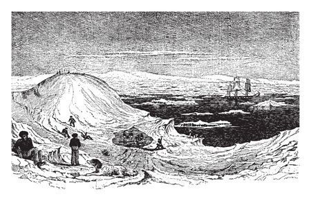 Antarctica is the southernmost continent and site of the South Pole which is a virtually uninhabited ice covered landmass, vintage line drawing or engraving illustration.