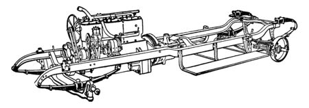 Building an Automobile Step 17 is Engine and Transmission Attached to the Frame and connected to the rear axle by the drive shaft, vintage line drawing or engraving illustration.