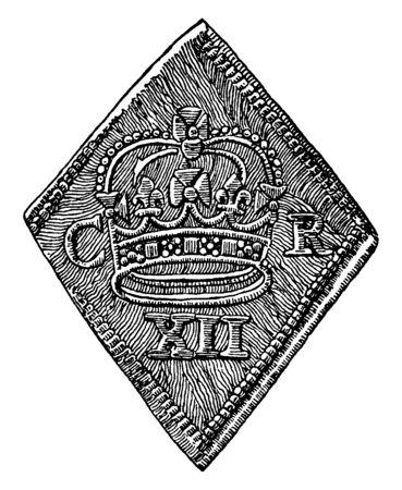 This illustration represents Obverse of Newark Siege Piece, vintage line drawing or engraving illustration.