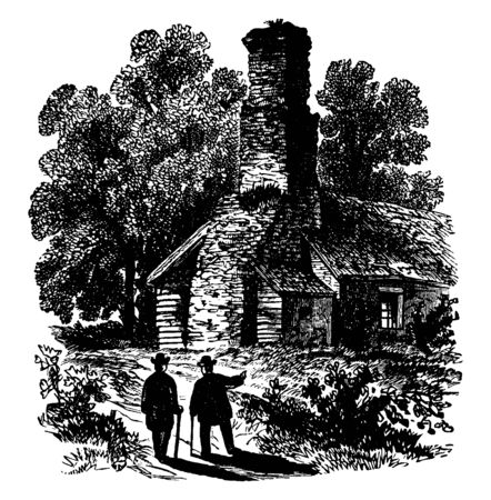 Fort Schlosser was a fortification built in Western New York,vintage line drawing or engraving illustration. Çizim