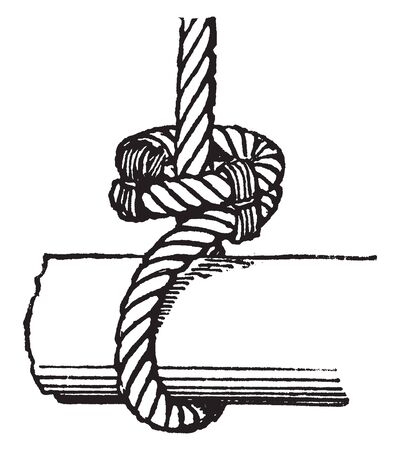 Outside Clench is a type of knot used to fasten large ropes, vintage line drawing or engraving illustration.