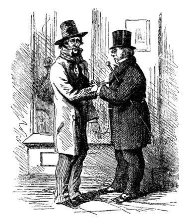 Two men shaking hands, vintage line drawing or engraving illustration