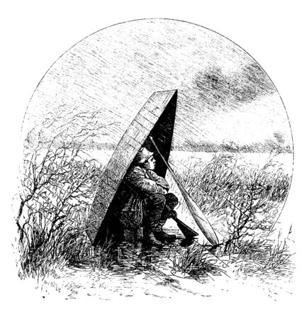 A man sitting under a boat propped up with an oar while it is raining, vintage line drawing or engraving illustration Illusztráció