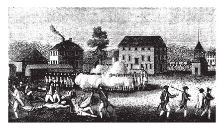 A brief battle between small groups, at Lexington,vintage line drawing or engraving illustration.
