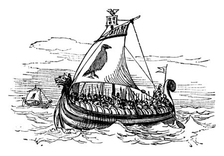 Norse Galley is an ancient ship which can be propelled entirely by human oarsmen used for warfare and trade, vintage line drawing or engraving illustration.
