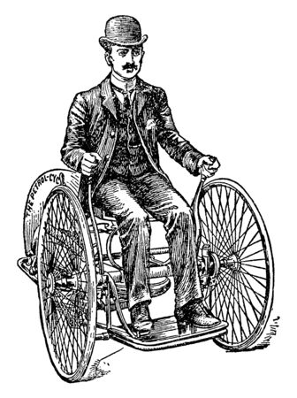Butler Gas Operated Motor Tricycle was not fitted with a braking system and operated at 3 to 10 mph, vintage line drawing or engraving illustration.