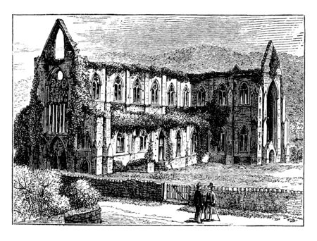 Tintern Abbey of Cisternian was only the second Cistercian foundation in Britain, vintage line drawing or engraving illustration.