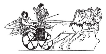 Greek Chariot is a two wheeled car or vehicle used in various forms by the ancients in war in processions and for racing, vintage line drawing or engraving illustration.