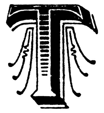 A capital letter T with lines and shading, vintage line drawing or engraving illustration Ilustração