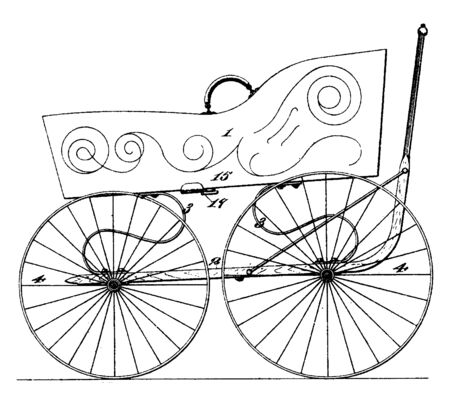 Folding Baby Carriage used to carry an infant or small child on the body of an adult, vintage line drawing or engraving illustration.