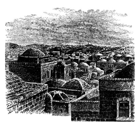 A View of Jerusalem is the capital of Israel and its largest city in both population and area, vintage line drawing or engraving illustration.