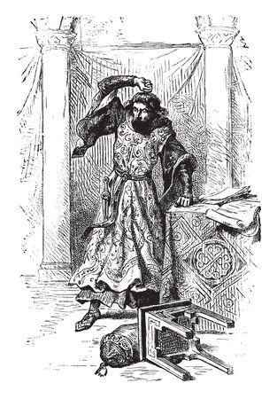 John Anger after Signing Magna Charta were making the whole kingdom miserable, vintage line drawing or engraving illustration.