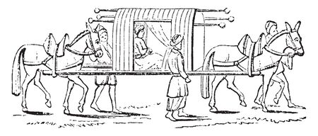 Litter covered conveyance representing a sedan chair, vintage line drawing or engraving illustration.