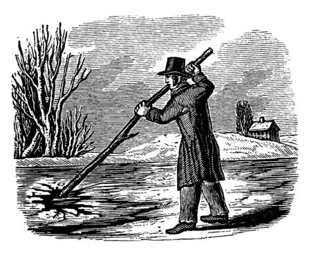 A man breaking ice with pole, vintage line drawing or engraving illustration